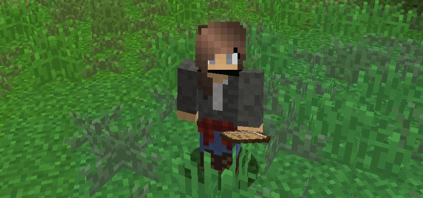 A Minecraft avatar standing in a field of grass.